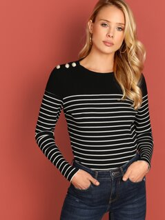 Button Detail Yoke Striped Tee