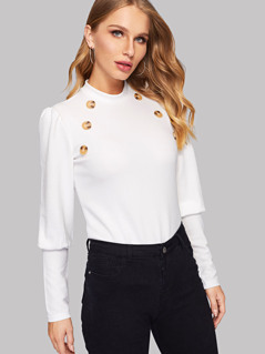Double Button Leg-of-mutton Sleeve Tee