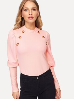 Button Embellished Leg-of-mutton Sleeve Tee