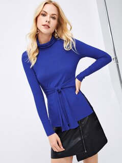 Self Belted High Neck Ribbed Knit Split Tee