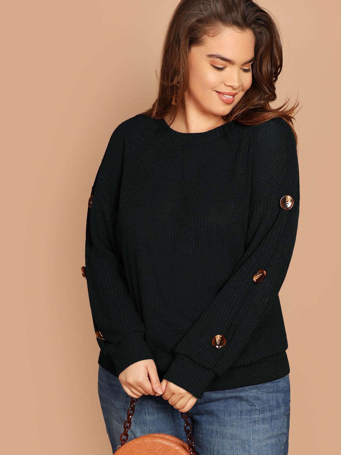 Купить Размера плюс вязяная ребристая футболка с пуговицами на рукавах, Faith Bowman, SheIn