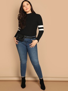 Plus Mock-neck Form Fitting Striped Tee