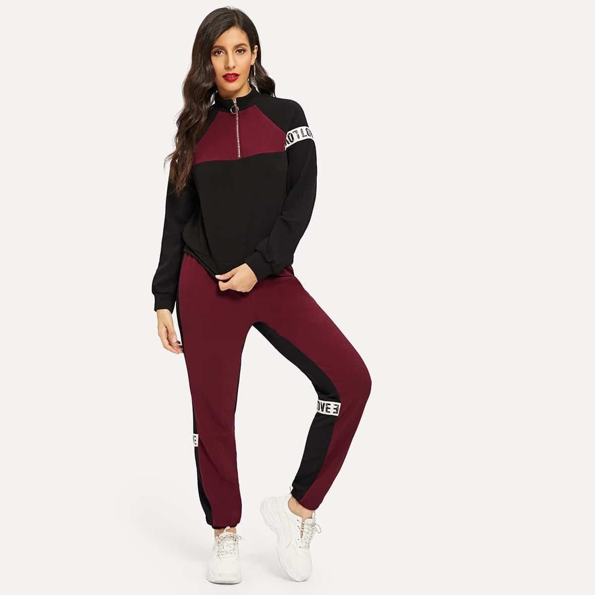 Контрастный свитшот с текстовым принтом на ленте и спортивные брюки комплект от SHEIN