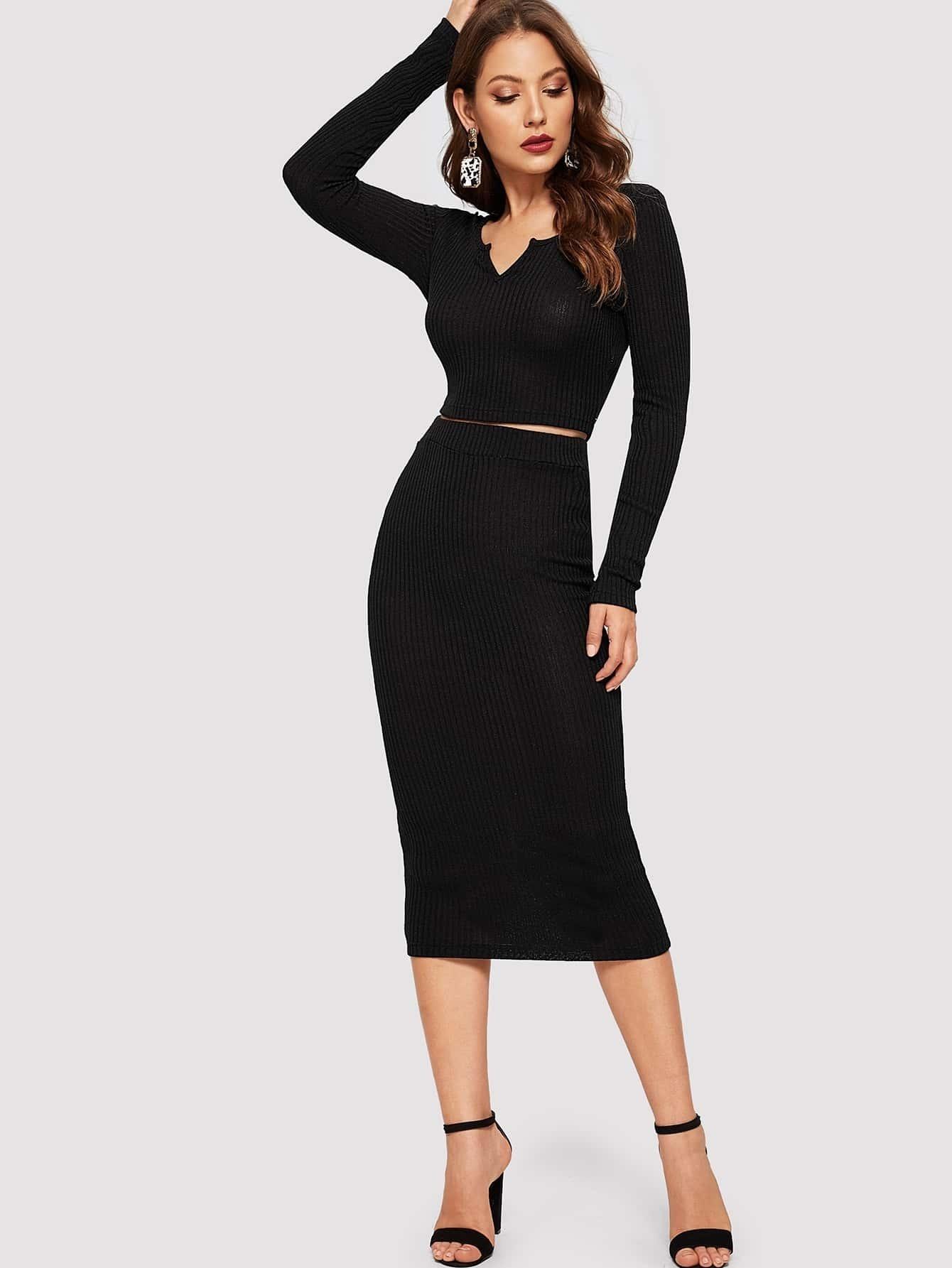 Купить Вязаный короткий топ с v-образным вырезом и юбка комплект, Debi Cruz, SheIn