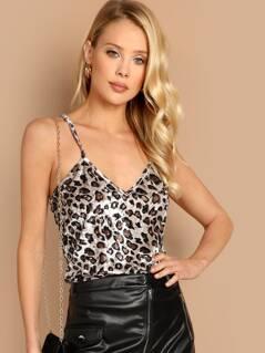 Leopard Print Velvet Cami Top
