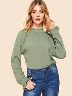 Frill Neck Bell Sleeve Solid Top