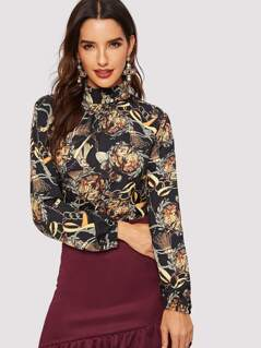 Frilled Neck Chain Print Top