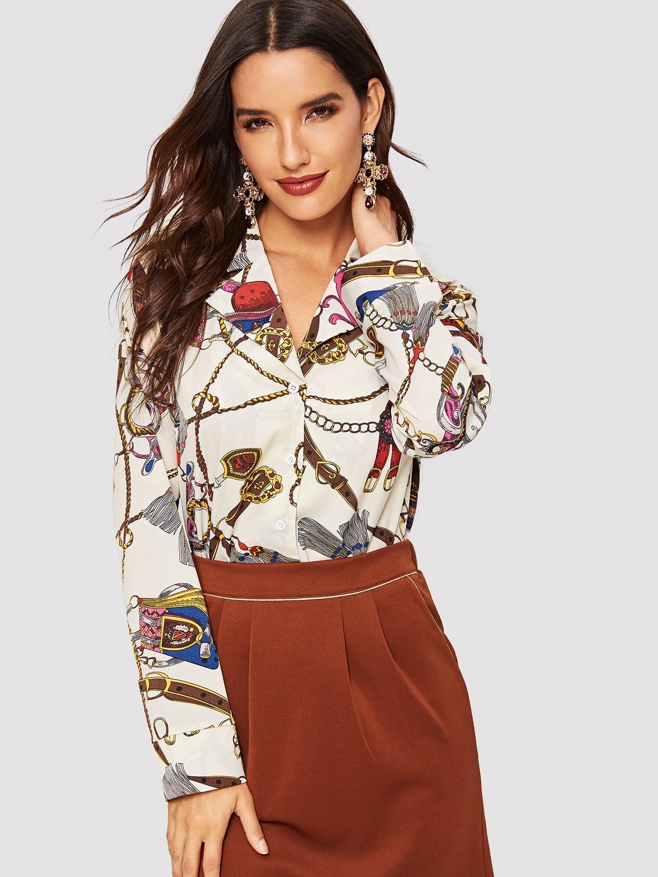 Купить Рубашка с графическим принтом и пуговицами, Juliana, SheIn