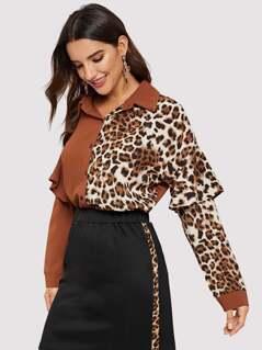 Flounce Trim Leopard Panel Colorblock Shirt
