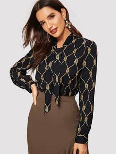 Tie Neck Rope Print Pleated Back Top
