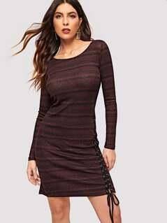 Lace-up Detail Striped Glitter Dress