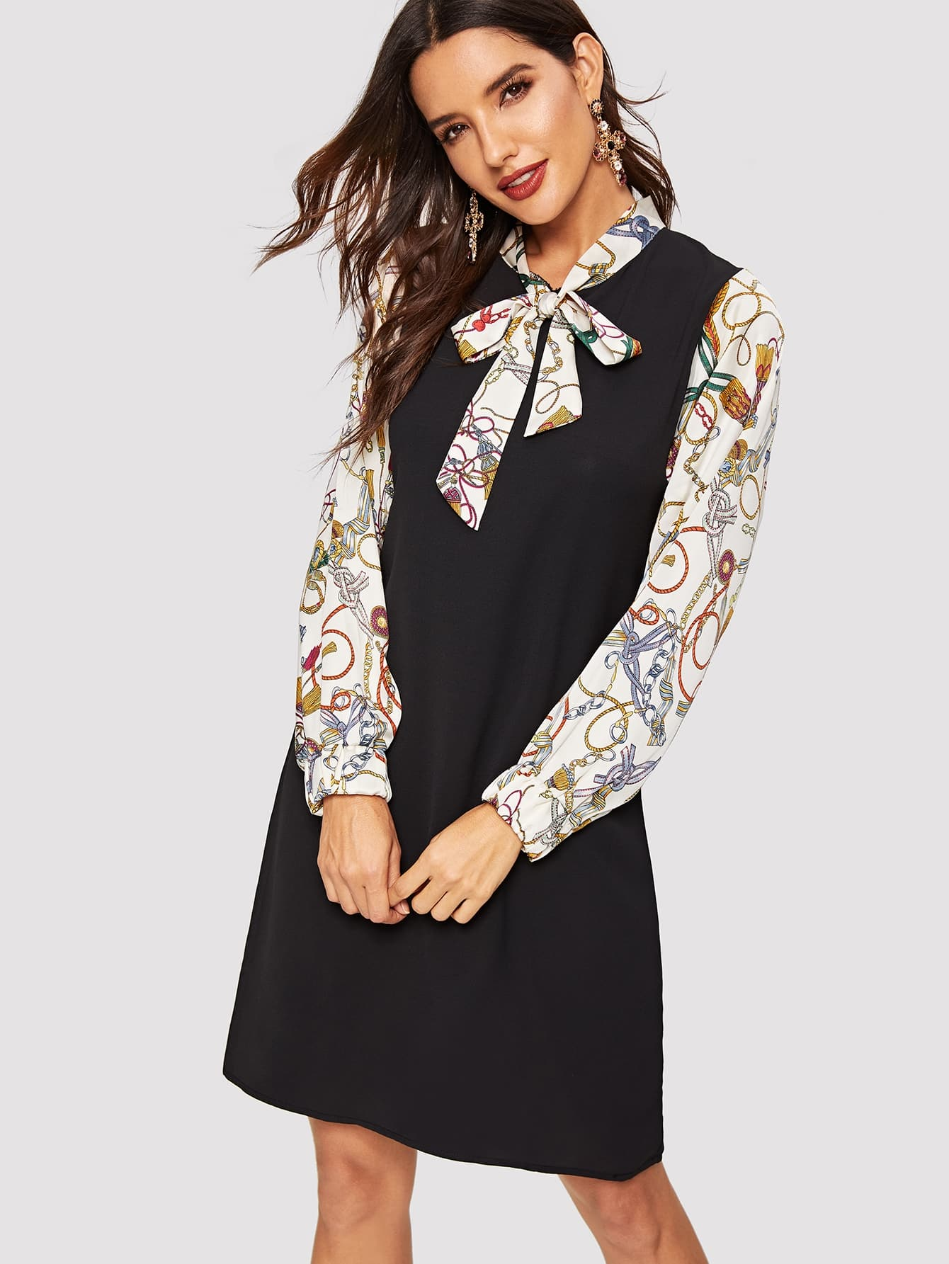 50s Ribbon Tie Dip Hem Flare Lace Dress null