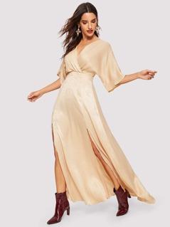 Surplice Neck Split Hem Maxi Dress