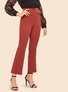 70s Wide Waistband Solid Utility Pants