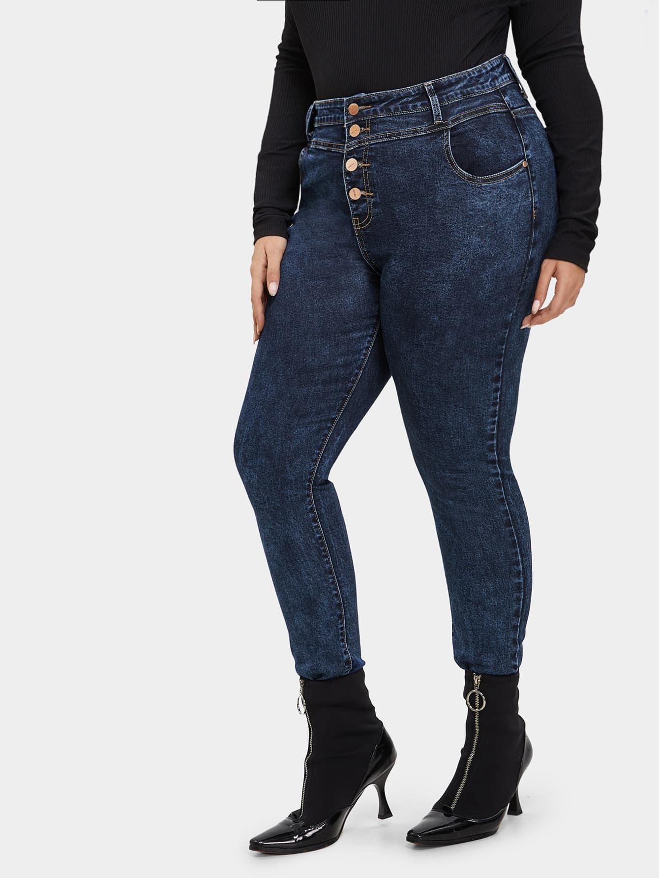 Купить Стильные джинсы на пуговицах размера плюс, Mafe, SheIn
