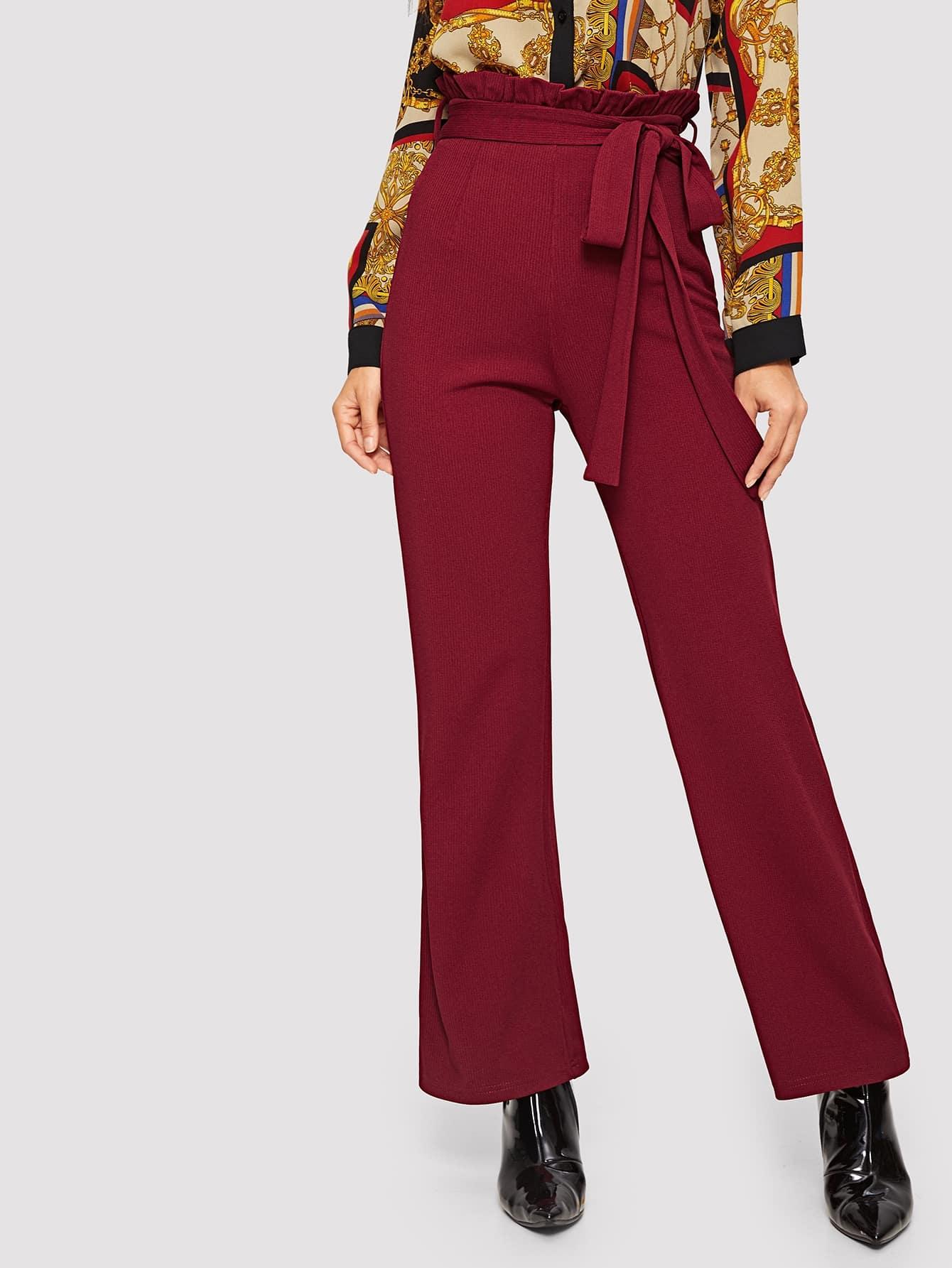 Купить Однотонные брюки со складкой талией, Juliana, SheIn