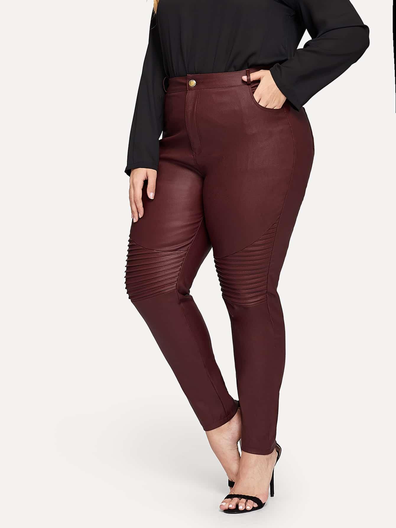Купить Размера плюс обтягивающие джинсы со складкой, Mafe, SheIn