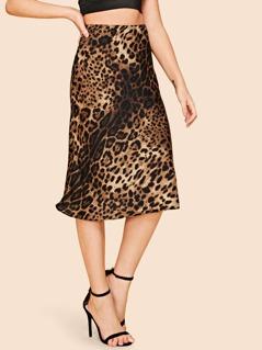 Leopard Print Split Back Skirt