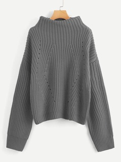 Funnel Neck Drop Shoulder Eyelet Jumper