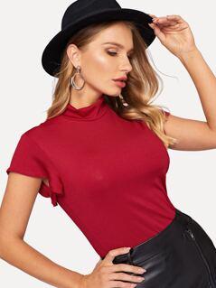 Cap Sleeve Mock-neck Ribbed Knit Tee