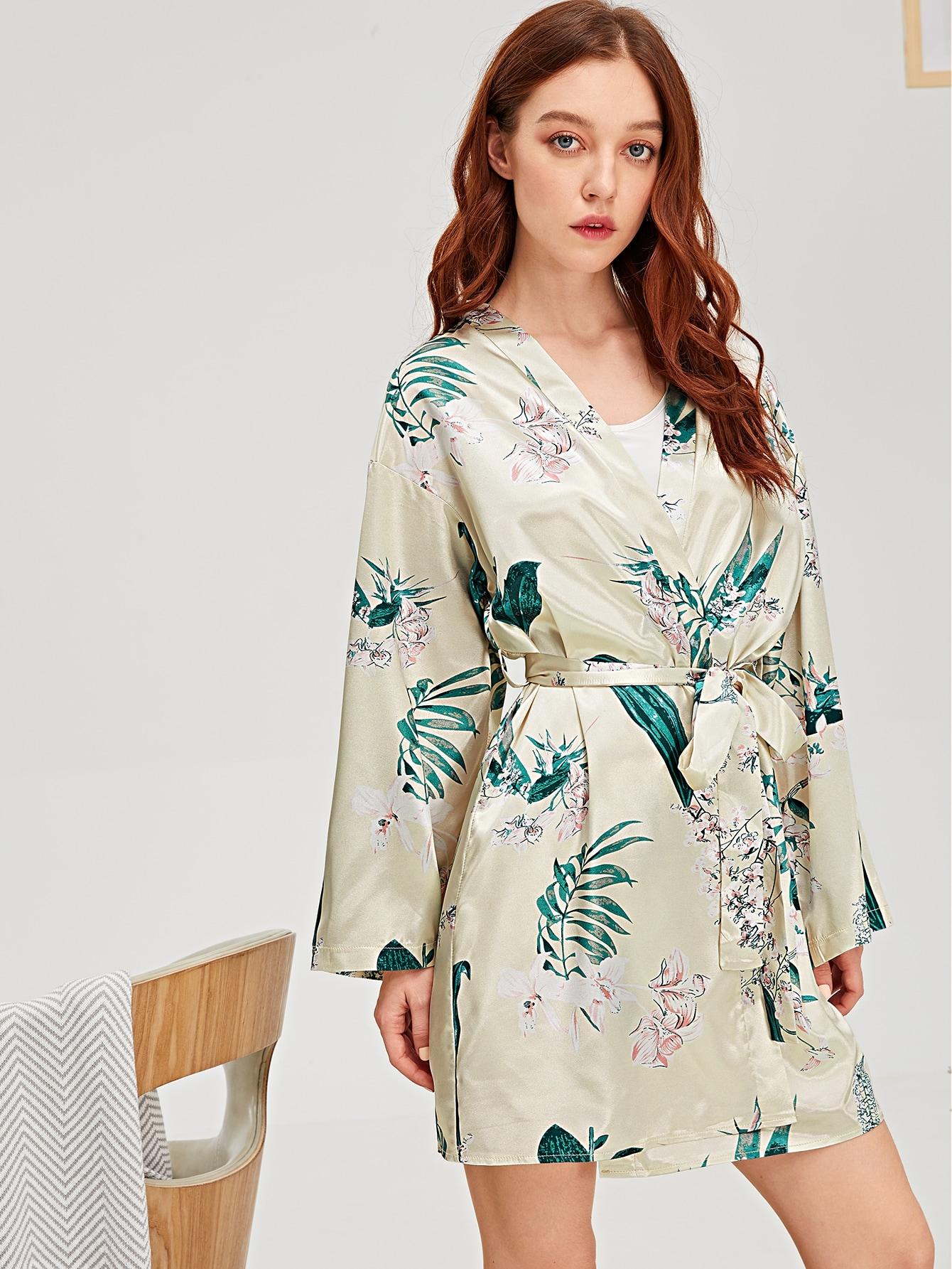 Купить Сатиновый домашний халат с поясом и графическим принтом, Poly, SheIn