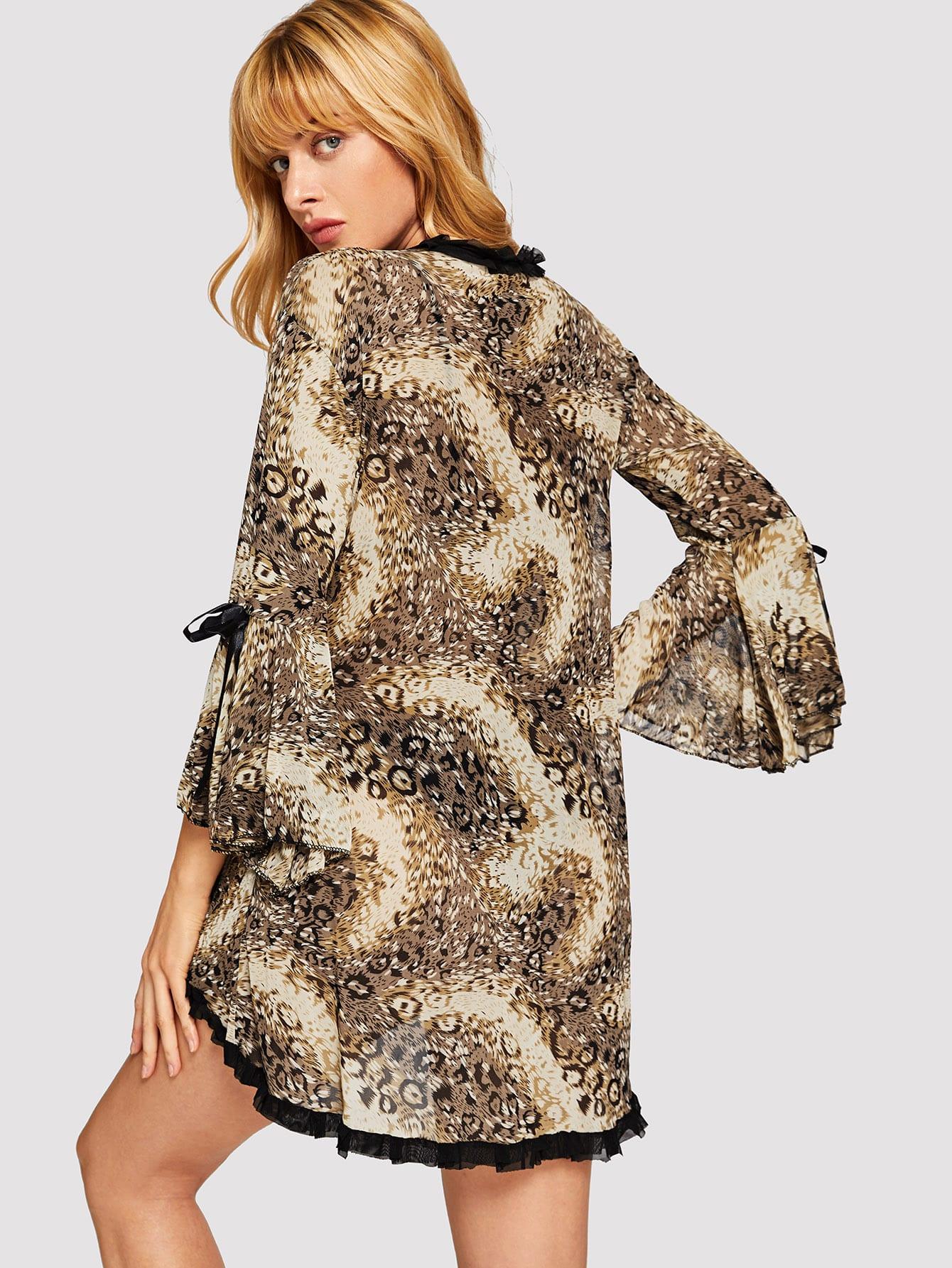 Купить Леопардовый домашний халат с кружевными оборками, Masha, SheIn