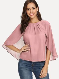 Ponchos Detail Pleated Solid Top