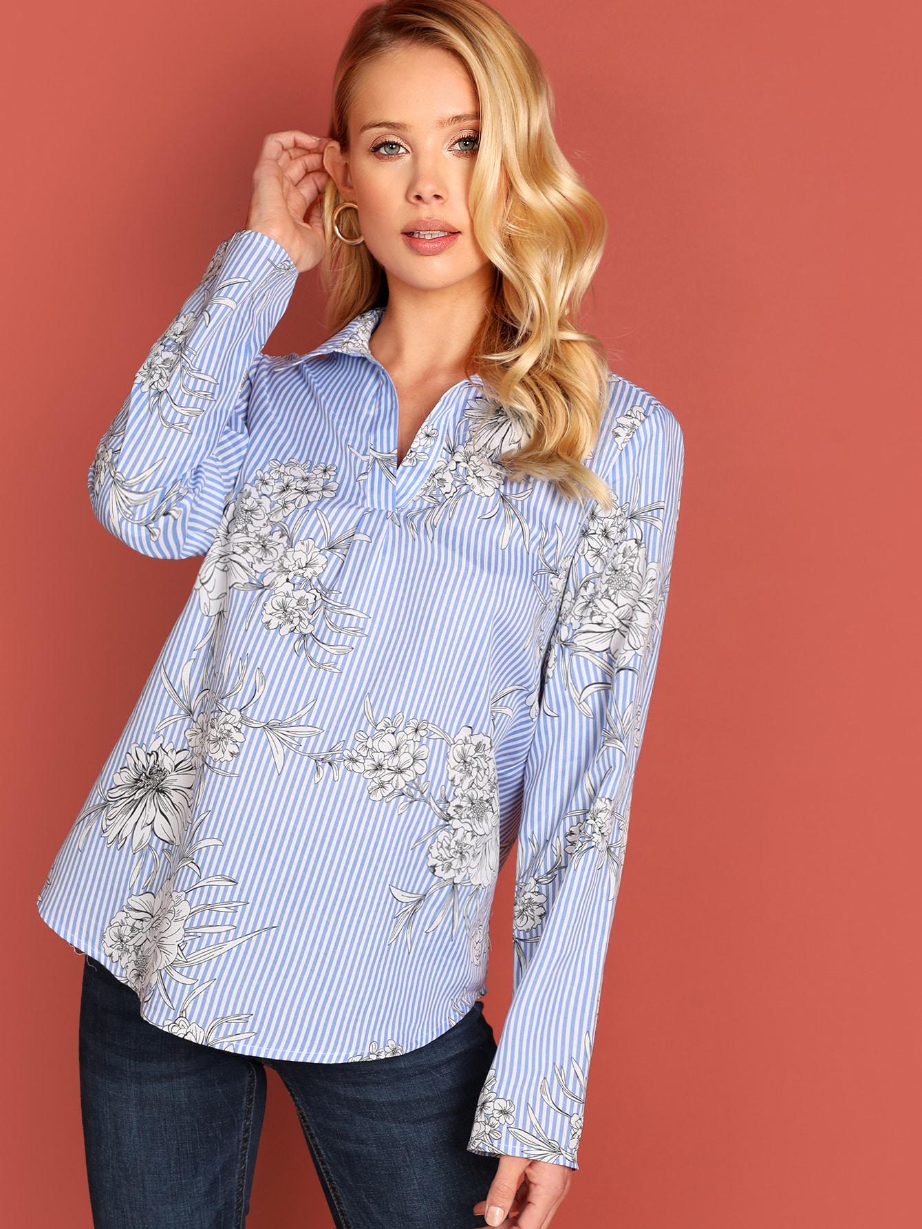 Купить Полосатая блуза с V-образным вырезом и цветочным принтом, Allie Leggett, SheIn