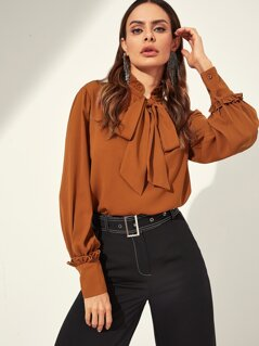 Frill Detail Tied Neck Blouse