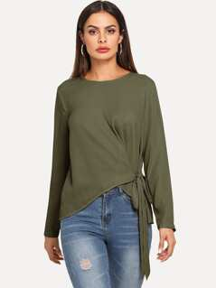 Keyhole Back Knotted Asymmetrical Top