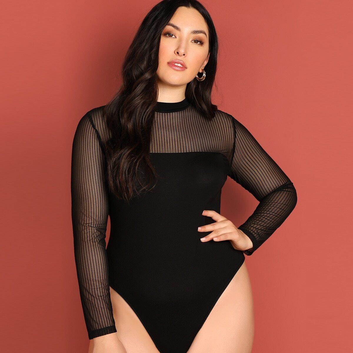 Zwart Elegant Vlak Bodysuits grote maten Contrast mesh