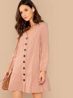 V-Neck Button Through Drop Waist Dress
