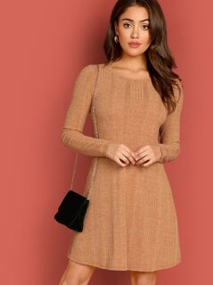 Fit and Flare Heather Knit Dress