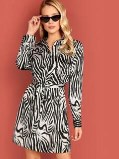 Zebra Pattern Belted Shirt Dress