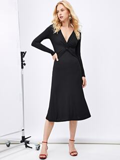 Plunging Neck Twist Front Solid Dress