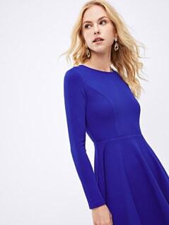 Zip Back Fit & Flare Dress