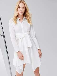 Self Belted Hanky Hem Shirt Dress