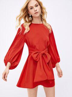 Waist Knot Round Neck Solid Dress