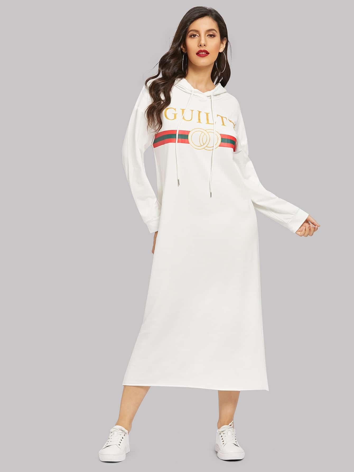 Купить Платье с капюшоном с графическим принтом и заниженной линией плеч, Jeane, SheIn