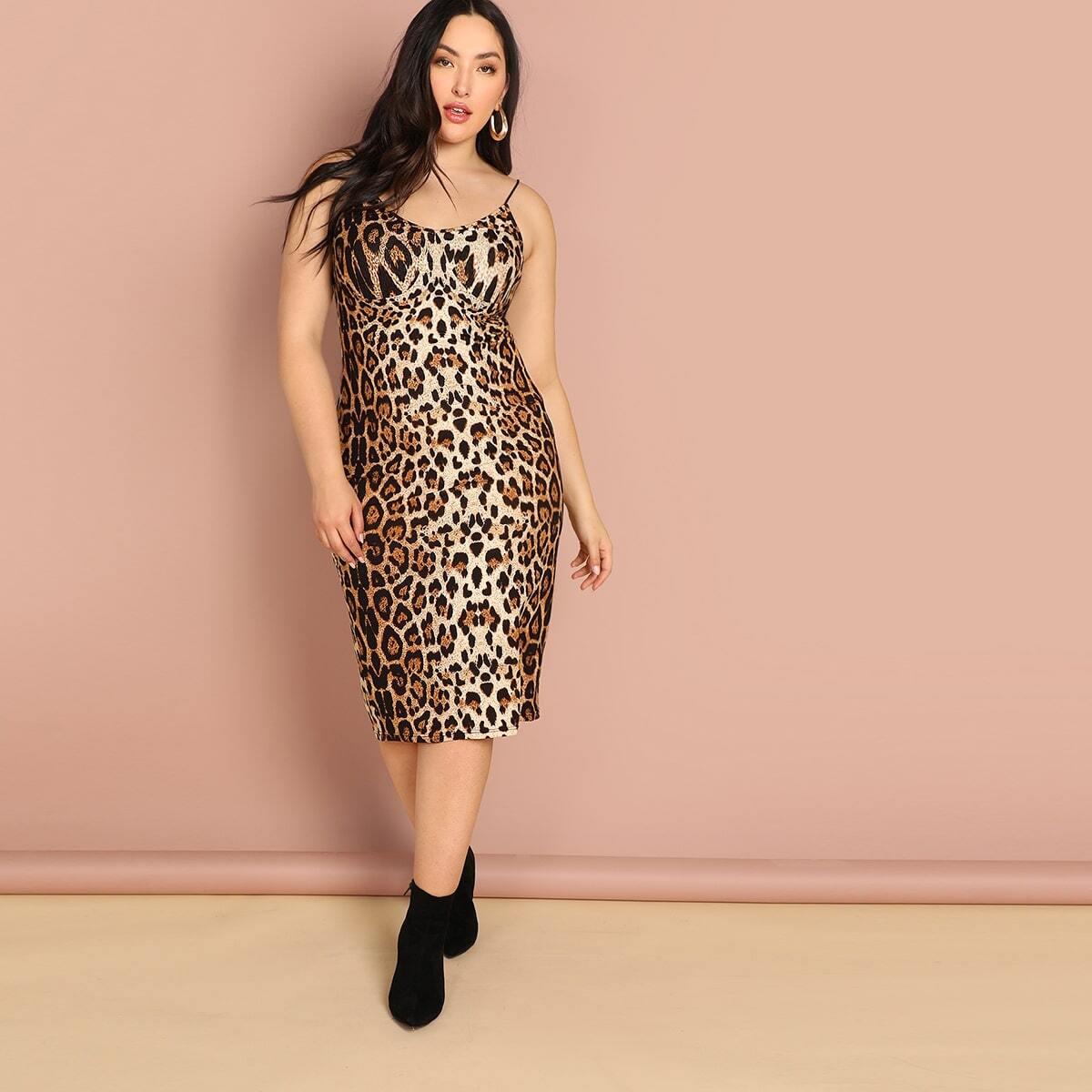 Veel kleurig Feest Luipaard Grote maten jurken