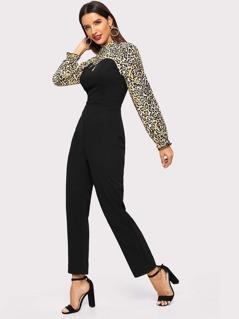 Leopard Print Tailored Jumpsuit