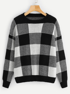 Round Neck Plaid Jumper
