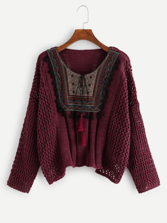 0756c14c62 Tassel Patched Loose Knit Sweater