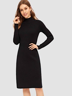 Slit Side Solid Fitted Knit Dress