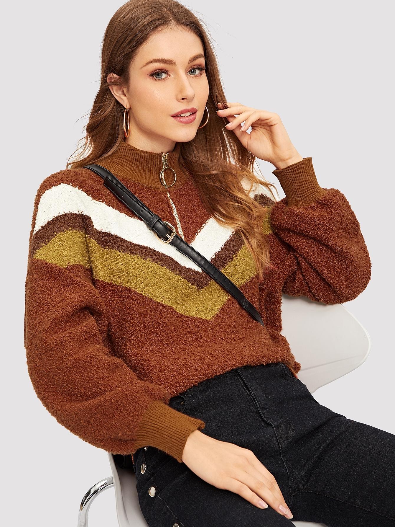 Купить Контрастный свитер с молнией, Gabi D, SheIn