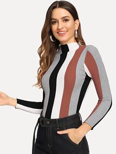 Mock-neck Form Fitting Sweater