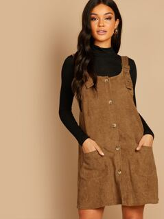 Button Front Corduroy Jumper Overall Dress