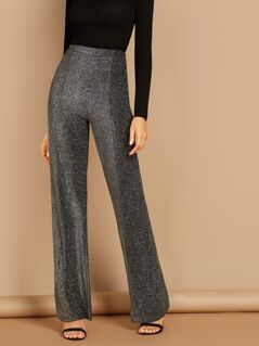 Sparkly Knit High Waisted Straight Leg Trousers
