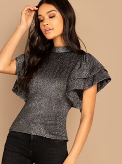 Sparkly High Neck Tiered Ruffle Sleeve Blouse