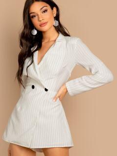 Tuxedo Stripe Button Front Mini Blazer Dress